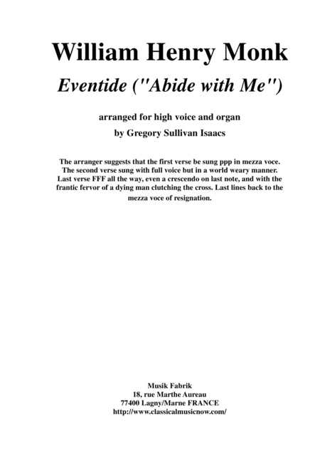 "William Henry Monk, ""Eventide"" '(""Abide with me"") arranged for high voice and organ"