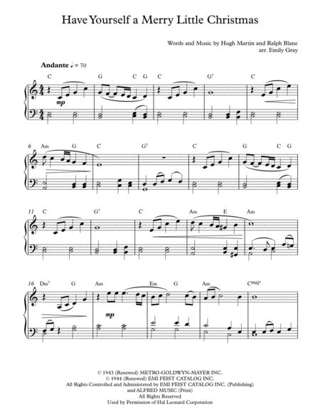 Have Yourself A Merry Little Christmas (Piano)