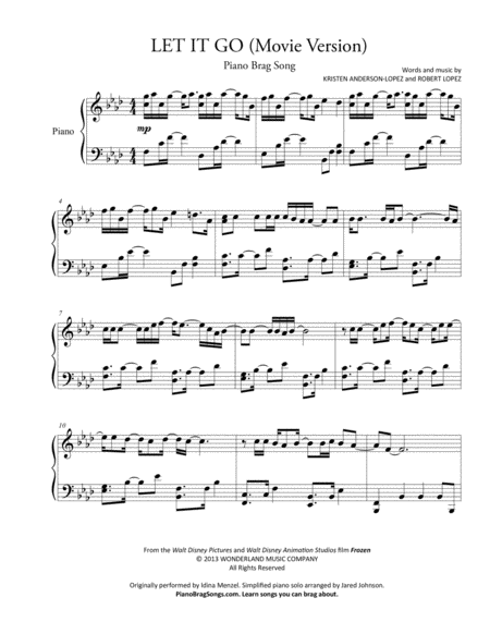 Let It Go (from Frozen) - Short Piano Solo