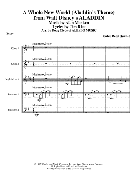 A Whole New World (Aladdin's Theme) from Walt Disney's ALADDIN for Double Reed Quintet
