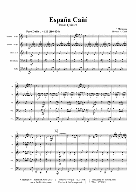 España Cañí - Paso Doble - Gypsy Dance - Brass Quintet