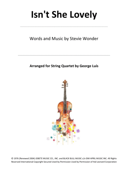 Isn't She Lovely for String Quartet
