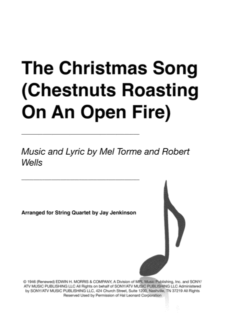 The Christmas Song (Chestnuts Roasting On An Open Fire) for String Quartet