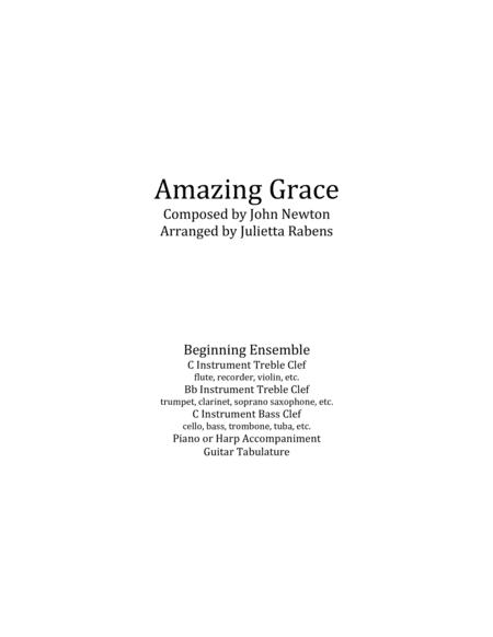 Amazing Grace in G major for easy ensemble