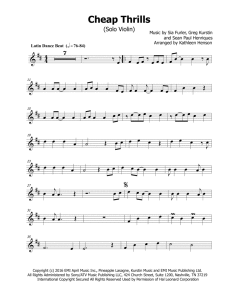 Download Cheap Thrills For Solo Violin Sheet Music By Sia Feat Sean Paul Sheet Music Plus