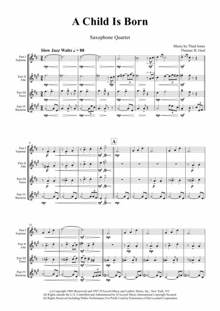 A Child Is Born - Christmas Jazz Waltz by Thad Jones  - Saxophone Quartet