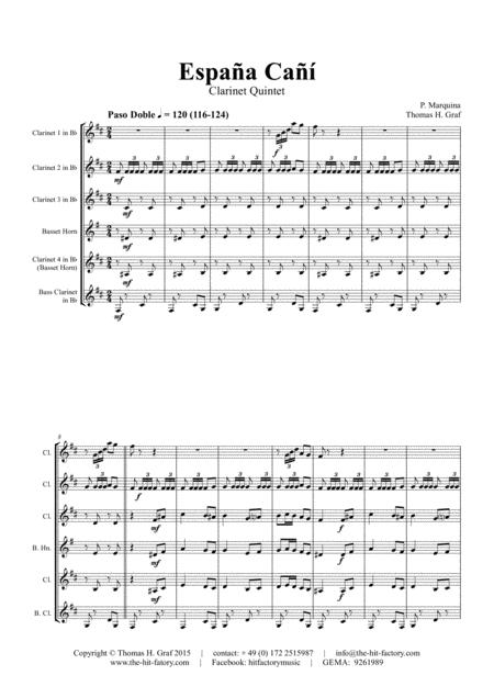 España Cañí - Paso Doble - Gypsy Dance - Clarinet Quintet