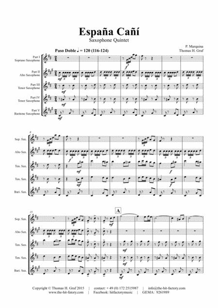 España Cañí - Paso Doble - Gypsy Dance - Saxophone Quintet