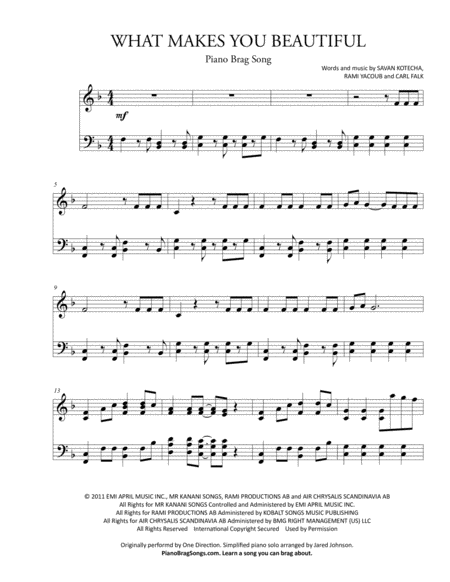 What Makes You Beautiful (Short Piano Solo)