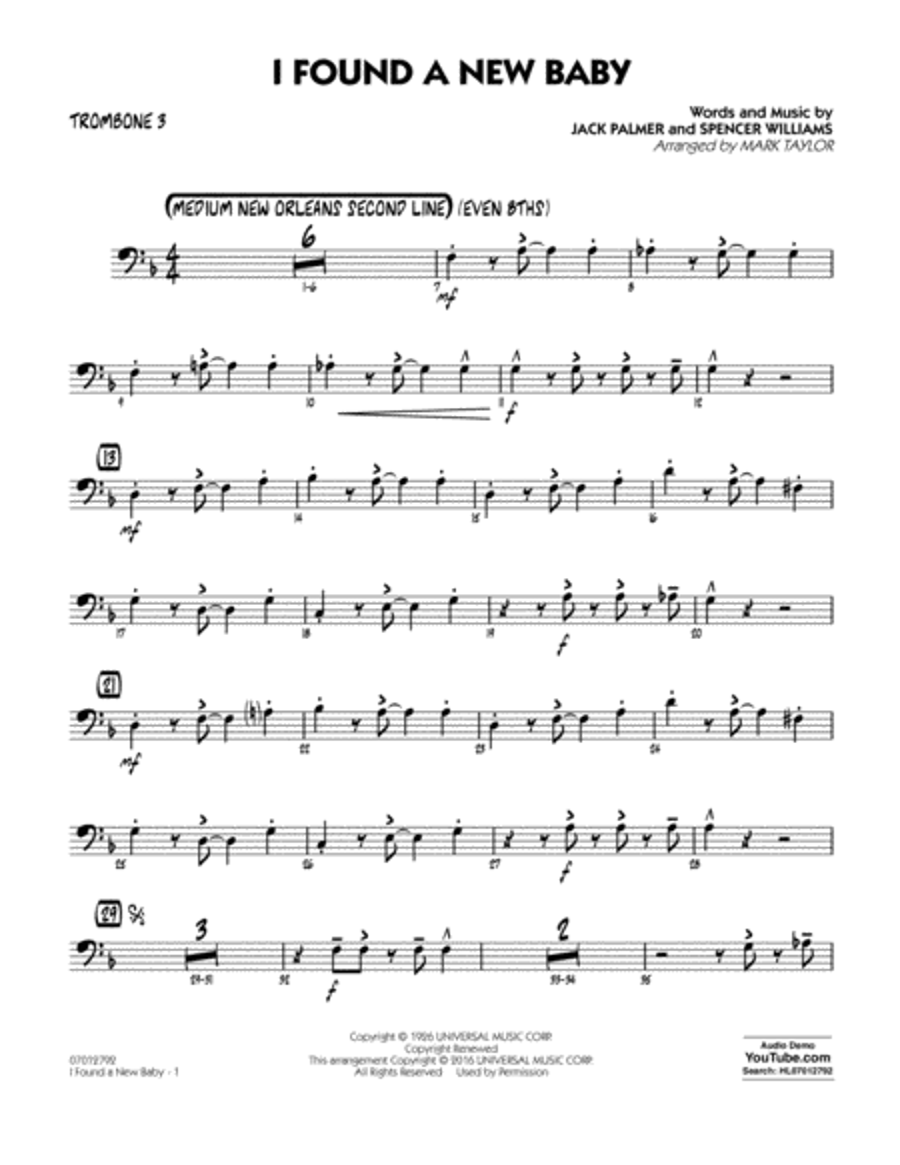 I Found a New Baby - Trombone 3