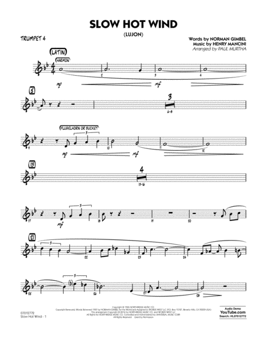 Slow Hot Wind (Lujon) - Trumpet 4