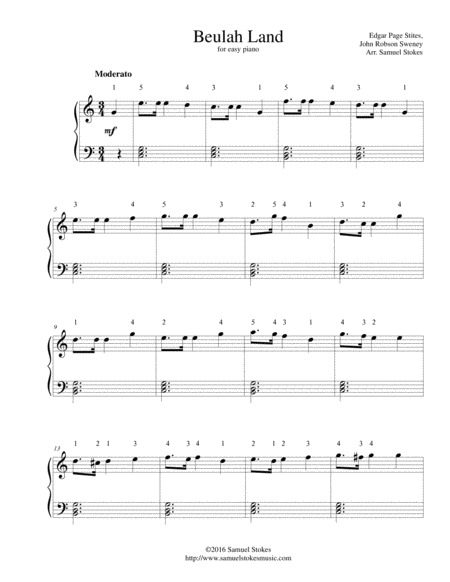 Beulah Land - for easy piano