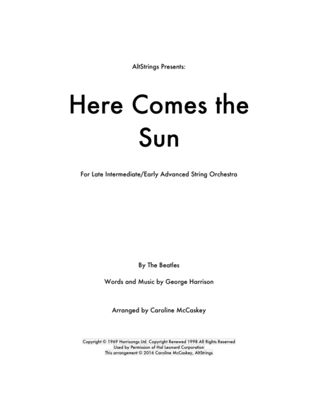 Here Comes The Sun - String Orchestra