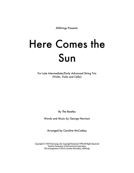 Here Comes The Sun - String Trio (Violin, Viola and Cello)