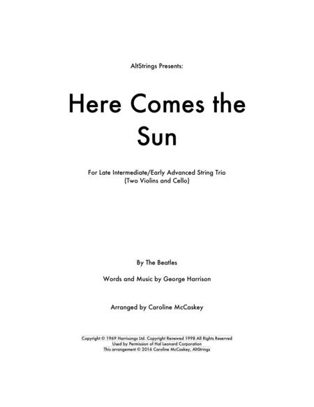 Here Comes The Sun - String Trio (Two Violins and Cello)
