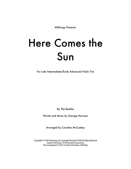 Here Comes The Sun - Violin Trio