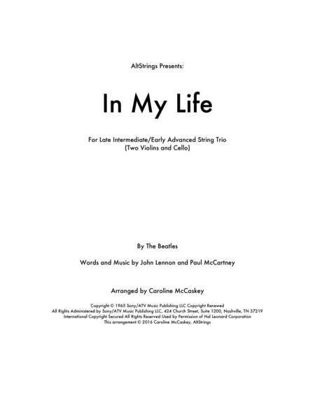 In My Life - String Trio (Two Violins and Cello)
