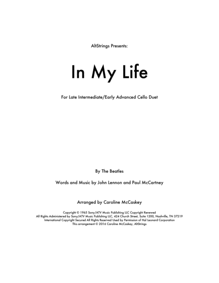In My Life - Cello Duet