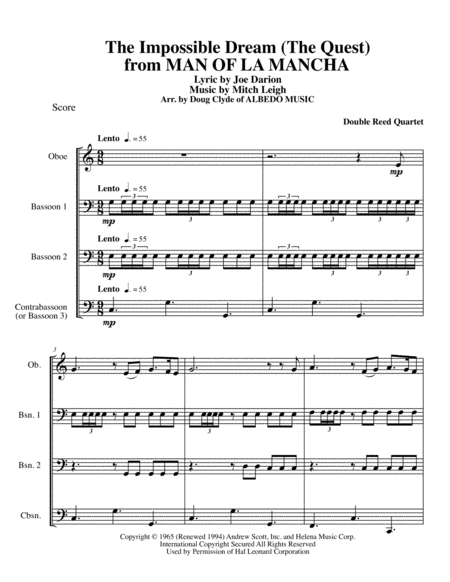 The Impossible Dream (The Quest) from MAN OF LA MANCHA for Double Reed Quartet