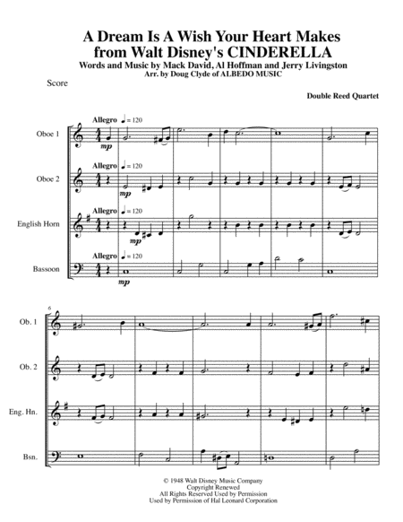A Dream Is A Wish Your Heart Makes from Walt Disney's CINDERELLA for Double Reed Quartet