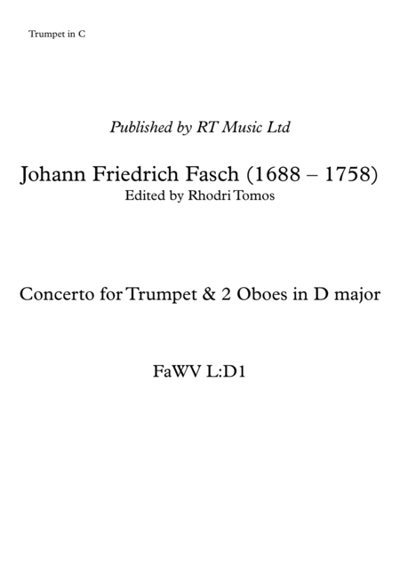 Fasch Trumpet Concerto in D - solo parts