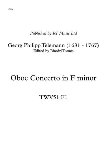 Telemann TWV51:F1 Concerto in F minor - solo parts oboe or trumpets