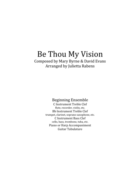 Be Thou My Vision in G major for easy ensemble