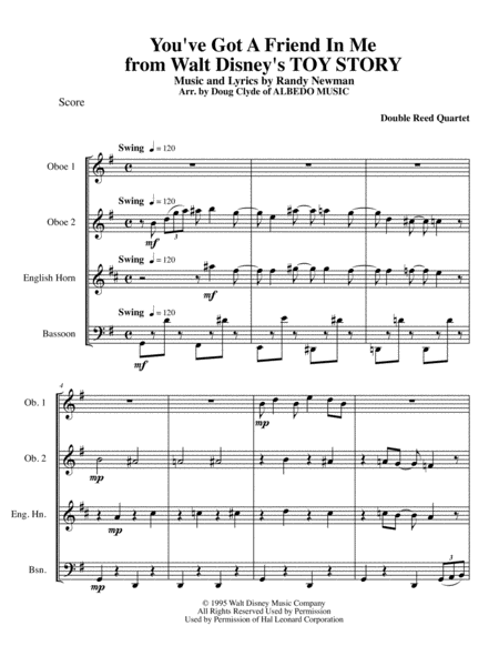 You've Got A Friend In Me from Walt Disney's TOY STORY for Double Reed Quartet