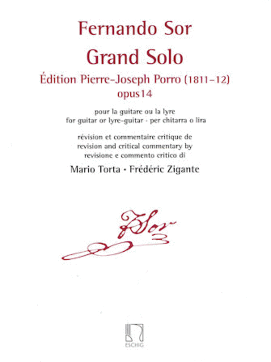 Grand Solo: Edition Pierre Porro (1811-12), Op. 14