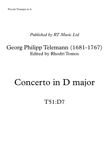 Telemann T51:D7 Trumpet Concerto in D major