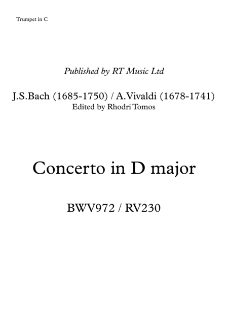 Bach BWV972 / Vivaldi RV230 Concerto in D Major