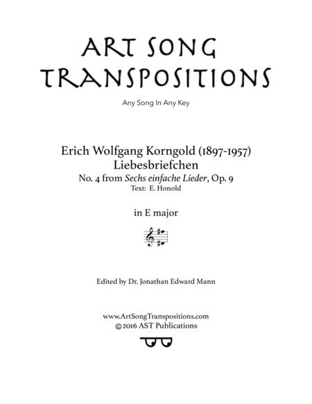 Liebesbriefchen, Op. 9 no. 4 (E major)