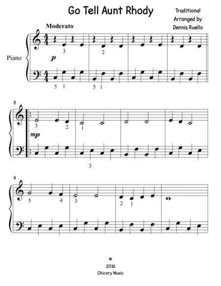Go Tell Aunt Rhody (big note) - Piano Solo - Easy Beginner