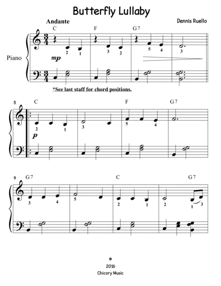 Butterfly Lullaby (big note) - Piano Solo - Easy/Beginner
