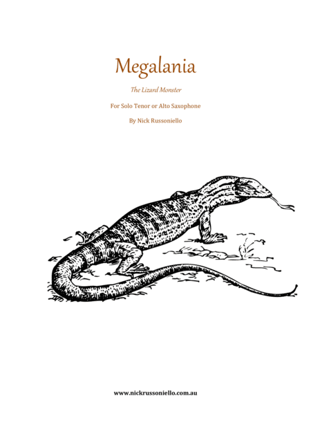 Megalania for solo alto or tenor saxophone
