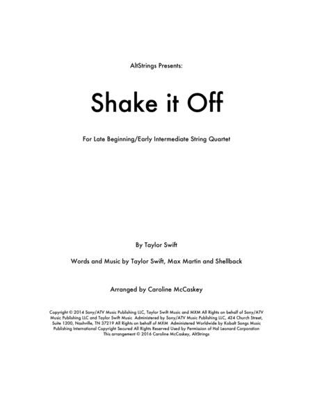 Shake It Off - String Quartet