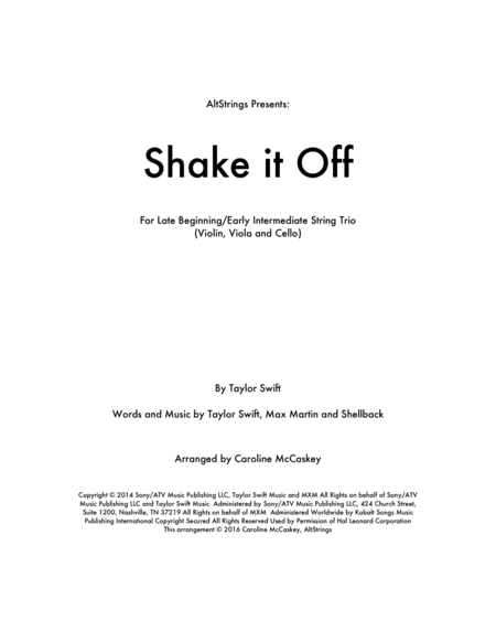 Shake It Off - String Trio (Violin, Viola and Cello)