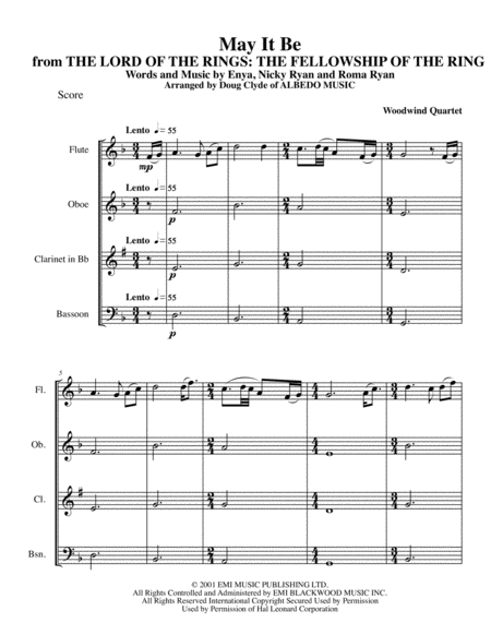 May It Be from THE LORD OF THE RINGS: THE FELLOWSHIP OF THE RING for Woodwind Quartet