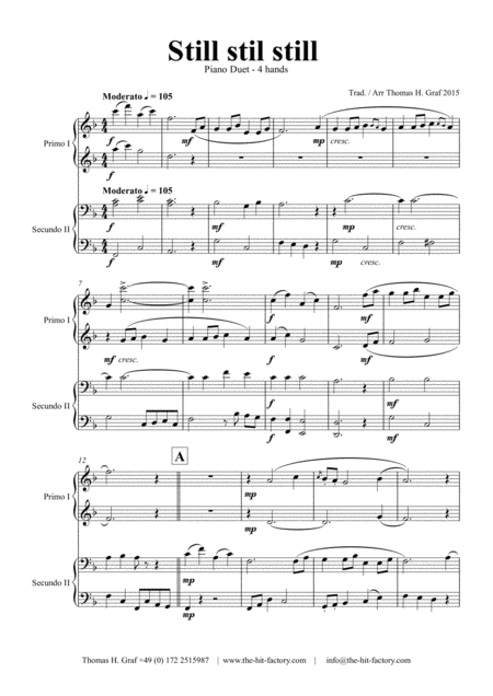 Still Still Still - Christmas song - Piano Duet (4 Hands)