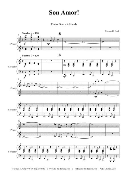 Son amor! - Samba - Piano Duet (4 Hands)