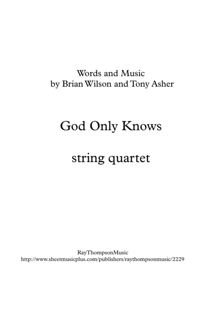 Beach Boys: God Only Knows - string quartet