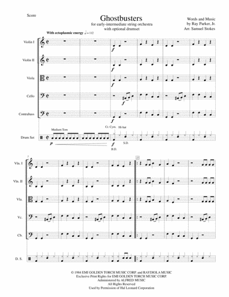 Ghostbusters - movie theme for early-intermediate string orchestra with optional drumset