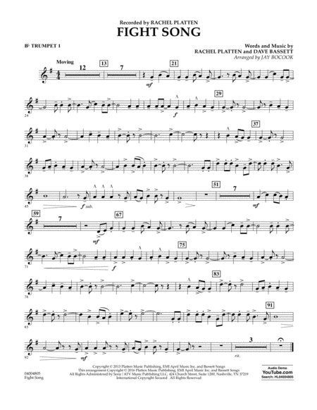 Fight Song - Bb Trumpet 1