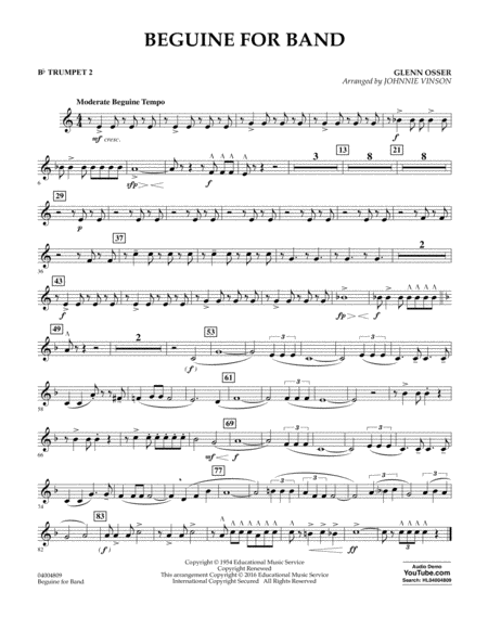 Beguine for Band - Bb Trumpet 2