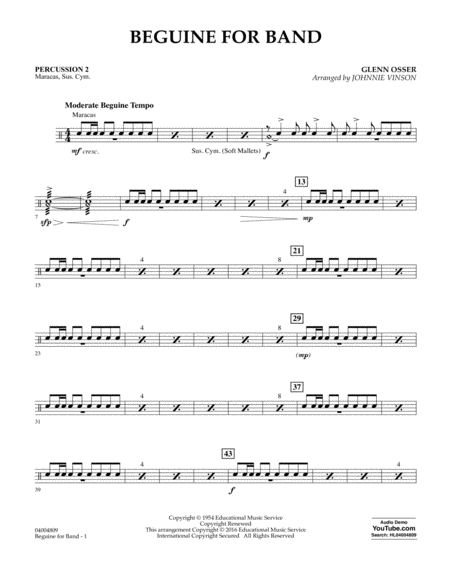 Beguine for Band - Percussion 2