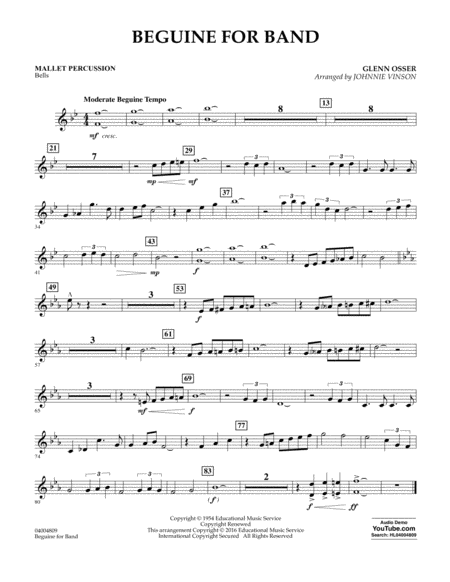 Beguine for Band - Mallet Percussion