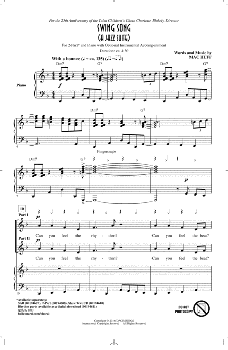 Swing Song (A Jazz Suite)