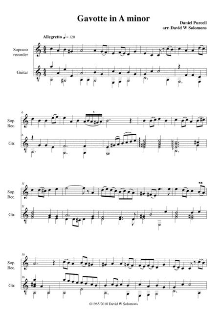 Gavotte in A minor for soprano recorder and guitar