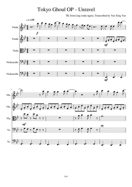 Tokyo Ghoul - Unravel (Cello Quintet)