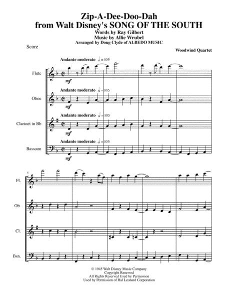 Zip-A-Dee-Doo-Dah from Walt Disney's SONG OF THE SOUTH for Woodwind Quartet
